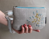 Evening WRISTLET in warm grey teal blue upholstery fabric with embroidery and detachable strap