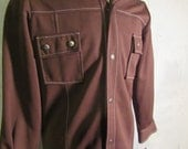 Vintage Retro Polyester Jacket NEW MAN Size M Medium Brown w/white stitching Snap Up 70's
