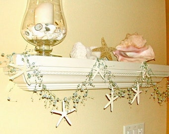 Beach Decor Natural Starfish Garland - Choose Aqua, Turquoise or White Beads - Star fish garland Beach Wedding Decor