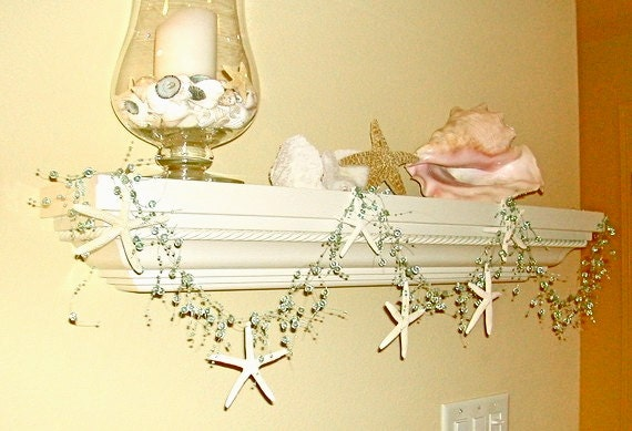 Beach Decor Natural Starfish Garland - Choose Aqua or Turquoise Beads - Star fish garland Beach Wedding Decor