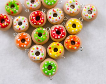 Assorted Colorful Donut Charms - Set of 6