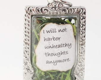 I Will Not Harbor Unhealthy Thoughts Anymore, Faux Stone Heart Terrarium, Eat Pray Love Quote Locket Necklace, Elizabeth Gilbert Quote