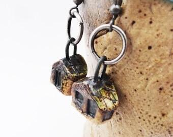 Dark House Earring,Tiny Twisted Weird Clay Houses, Miniature House Jewelry, Strange Crooked Shack,  EB