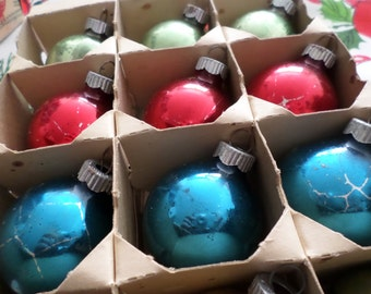 Shiny Brite Small Glass Christmas Ball Ornaments, Assorted Colors, Set of (11), Shappy, Chippy, Holiday Home Decor, Christmas Tree Decor