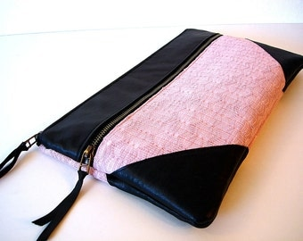 Large Oversized Zipper Clutch Rosy Pink Knit and Leather