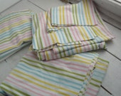 Vintage Double Sheets Flat Rainbow Stripes Fabric Material Set of 3