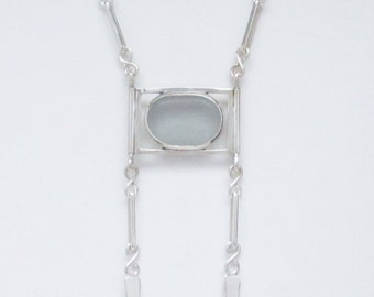 Sea Glass Jewelry - Sterling Rare Gray Sea Glass Necklace with Handmade Chain
