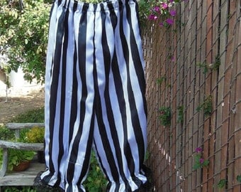 Womens Satin Bloomers Black White Stripe Lace Trim Pirate Circus XS - XLg Custom Made