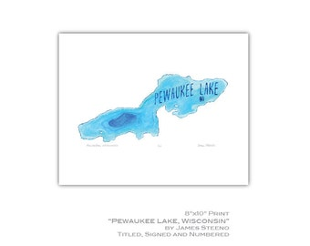 Pewaukee Lake Wisconsin Watercolor Art Print