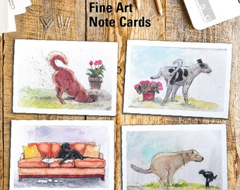 Naughty Dogs Note Card Set of 4