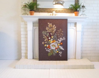 Vintage Big Floral Embroidered Wall Hanging, Extra Large Floral, Textile Wall Hanging