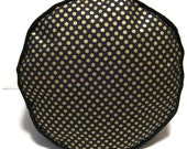 Metallic Gold Dots Pouffe Footrest Floor Cushion Pouff Black Corduroy