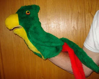 Parrot hand puppet Bird puppet faux fur  26 inches long