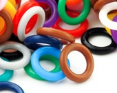 100 - 10mm Silicone Jump Rings - You Pick Color - Black, White, Brown, Pink, Purple, Blue, Green, Yellow, Orange, Red or Rainbow Mix