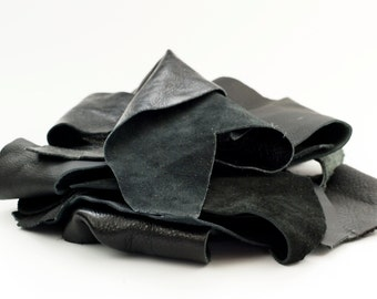 8 ounces Black Leather Scraps