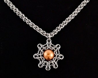 Celtic Eclipse and Jens Pind Necklace - Swarovski Crystal Copper Pearl and Stainless Steel