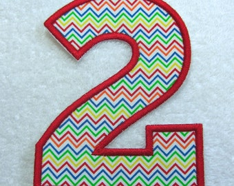 Iron on Number 2 Fabric Embroidered Iron On Applique Patch Ready to Ship