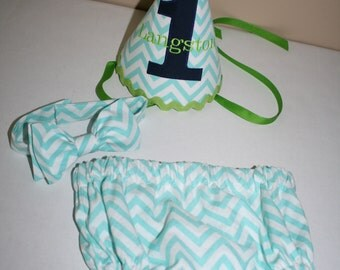 baby boy 1st birthday outfit, cake smash outfit, blue with lime green navy blue first birthday outfit diaper cover bow tie birthday hat