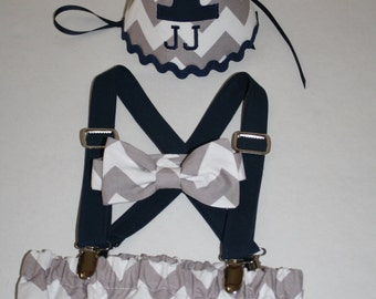 boy first birthday outfit, cake smash outfit, navy blue with gray, 1st birthday hat, suspenders, diaper cover, bow tie, birthday hat