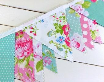 Baby Bunting,Fabric Banner,Baby Shower,Shabby Chic,Nursery Decor,Home Decor,Cake Smash,Pink,Aqua Blue,Flowers,Roses,Mint Green,Jade