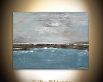 30 x 40 Original Large Landscape Painting Modern Contemporary Art Abstract Handmade Blue Wall Art Oil Painting by Sky Whitman