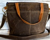 Camera bag in espresso brown Waxed Canvas waterproof Tote / cross body made in the USA by Darby Mack  / faux leather