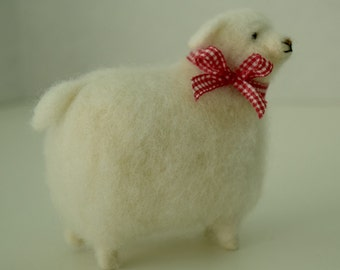 White Wool Sheep With Pretty Bow