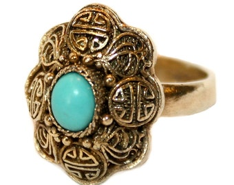 Ring, Chinese Gold Over Sterling & Turquoise Ring