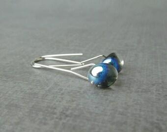 Dichroic Black Silver Earrings, Dichroic Lampwork Earrings, Long Minimalist Dangle Earrings, Black Earrings, Sterling Silver Wire Earrings
