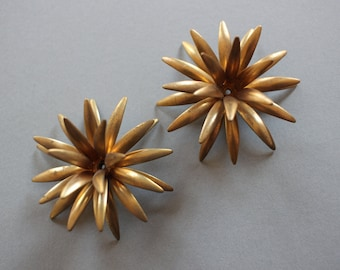 Pair Of Vintage Oxidized Brass Riveted Flower Findings