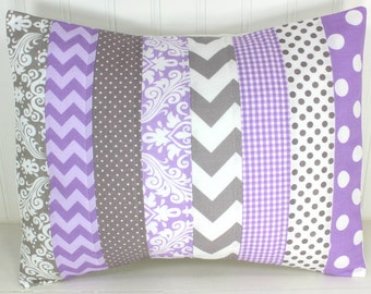 Throw Pillow Cover, Nursery Cushion Cover, Baby Girl Nursery Decor, Playroom Pillow Cover, 12 x 16 Inches, Lavender, Purple, Gray, Damask