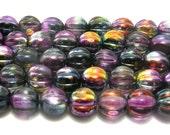 Purple/Jet Melon Round Beads (8mm) - Czech Glass Melon Beads - Czech Beads