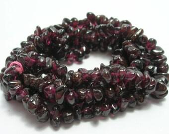 Garnet Tiny Nugget Bead Strand - Garnet Gemstones