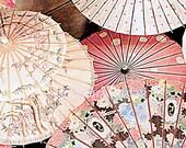 Umbrellas, rain, mist, victorian, floral, imagination, enchantment, dream, colorful, mauve, sepia, bouquet