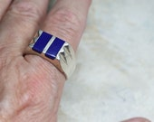 Mens Blue Lapis and Silver Ring, Vintage Stone Ring, Size 12.5
