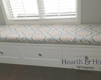 custom sewn window seat cushion with cording playroom nursery bench seat chair pad