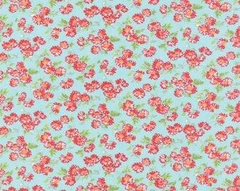 Daisy toss on Aqua...by Bonnie and Camille..Moda Fabrics..  55137-12