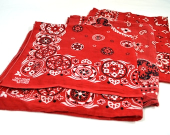 Lot of 3 Red Rockabilly Southwest Collectible Vintage Fast Color Bandanas - #B40