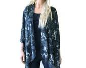 Charcoal/ dark gray Kimono cardigan- Ruana- charcoal black and gray-Gift idea