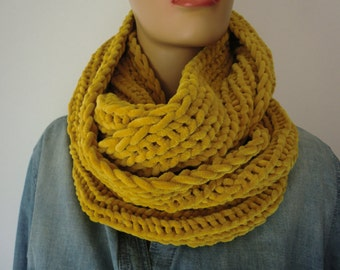 FREE SHIPPING-Mustard chunky winter scarf for men and women Hand knitted ulta soft fluffy winter cowl-More colors are coming
