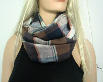 Brown and navy  plaid flannel infinity scarf/ cowl /Loop scarf unisex cotton flannel  ,brown tartan Infinity Scarf-Free shipping
