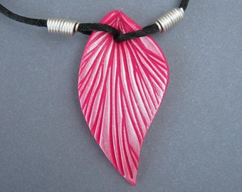 Dark Pink Leaf Necklace, Pearl Highlights, Polymer Clay Pendant, Sculpted Leaf, Black Cord, Silver Plated Wire, Customizable