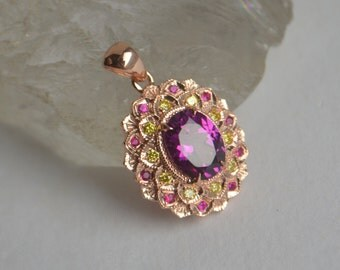 Double Petal Flower Pendant in 14 K Rose Gold with Grape Garnet, Ruby and Diamond