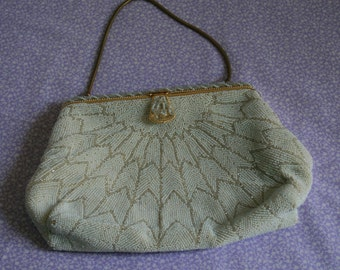 1950s French white beaded purse with spiderweb design