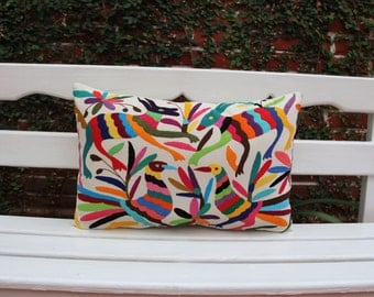 Multi color  Folk Art Pillow Sham-Otomi Embroidery Ready to ship.