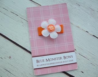 ONE DOLLAR CLIP White Flower with Orange Gingham Glitter Center Baby Snap Clip No Slip