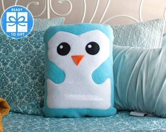 Blue Decorative Pillow  - Baby Blue Penguin Pillow -  Bird Shaped Pillow - Gift for Children - Baby Room Decor - Cute Gift - Ships Fast!