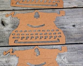 Typewriter Chipboard Die Cut Set of Three