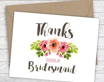 Bridesmaid Thank You Card, Floral Bridal Party Thank you card, Maid of Honor Card, Bridesmaid Card, Bride tribe Card, Bohemian