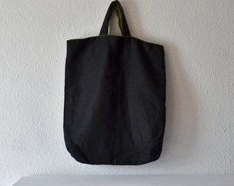 Black linen slouchy tote bag shopper handbags plain purse minimalist manbag vegan shopper sustainable reusable simple eco conscious yoga